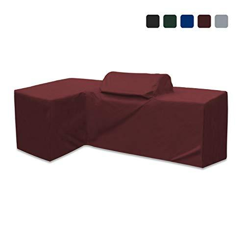 Outdoor Kitchen Cover 18 Oz Waterproof - Right - Customize Your Kitchen Cover with Any Dimensions - 100% UV & Weather Resistant Outdoor Kitchen Island Cover (Burgundy)