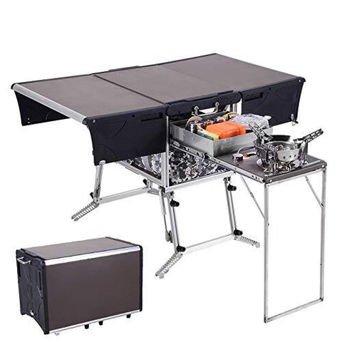 Outdoor kitchen with windshield integrated storage portable mobile kitchen car self-driving camping folding car wild picnic stove cabinet,Standard