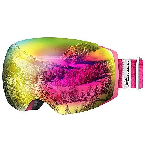 OutdoorMaster Ski Goggles PRO - Frameless, Interchangeable Lens 100% UV400 Protection Snow Goggles for Men & Women ( Pink Frame VLT 17% Rose Lens with and Free Protective Case )