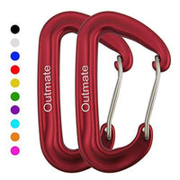 Outmate Carabiner Clip,12kN Aluminium Alloy Wiregate Carabiners,Heavy Duty Clips 2645lbs/1200kg,Perfect Gear for Hammocks Camping Hiking Keyring and Utility(Wire gate,2 Red)