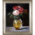 overstockArt Bouquet of Flowers by Édouard Manet Hand Painted Oil on Canvas with Versailles Silver King Frame