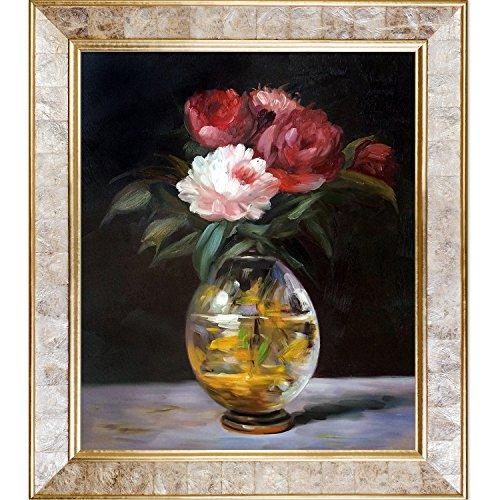overstockArt Bouquet of Flowers by Manet with Classic Gold Frame and Pearl Inlay