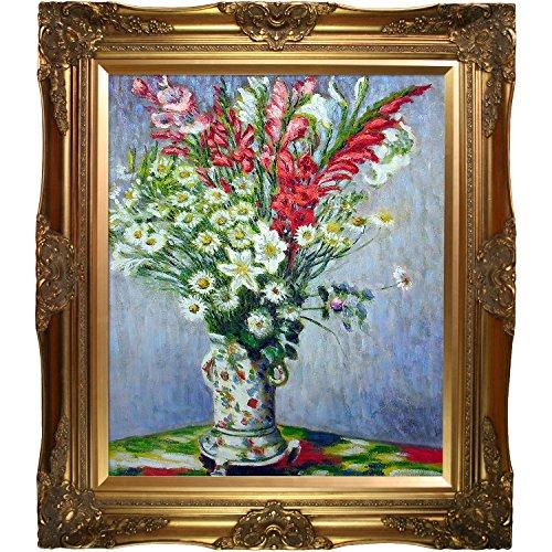 overstockArt Bouquet of Gadiolas Lilies and Dasies by Monet with Victorian Gold Frame and Gold Finish Artwork