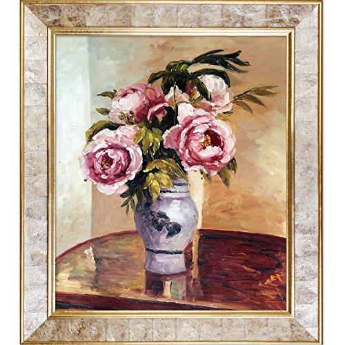 overstockArt Bouquet of Pink Peonies Artwork by Camille Pissarro with Gold Pearl Inlay Frame