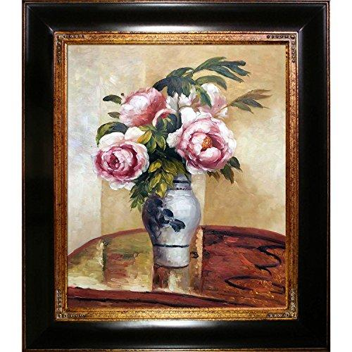 "overstockArt ""Bouquet of Pink Peonies by Camille Pissarro La Pastiche Hand Painted Oil Reproduction with Opulent Frame"