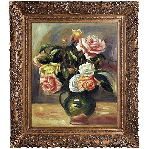 overstockArt Bouquet of Roses by Pierre Auguste Renoir Hand Painted Oil on Canvas with Burgeon Gold Frame, Multicolor, Medium