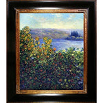 overstockArt Flower Beds at Vetheuil by Monet with Opulent Frame in Dark Stained Wood with Gold Trim