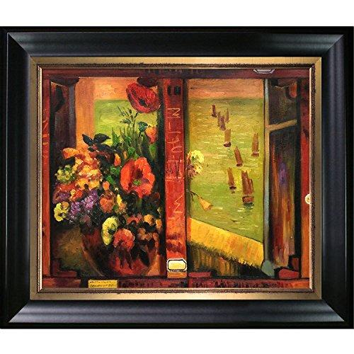 overstockArt Hand Painted Oil Reproduction, Bouquet of Flowers with Window Open to Sea by Gauguin with Black Gold Combo Frame