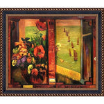 overstockArt Hand Painted Oil Reproduction, Bouquet of Flowers with Window Open to Sea by Paul with Verona Black Gold Braid Frame