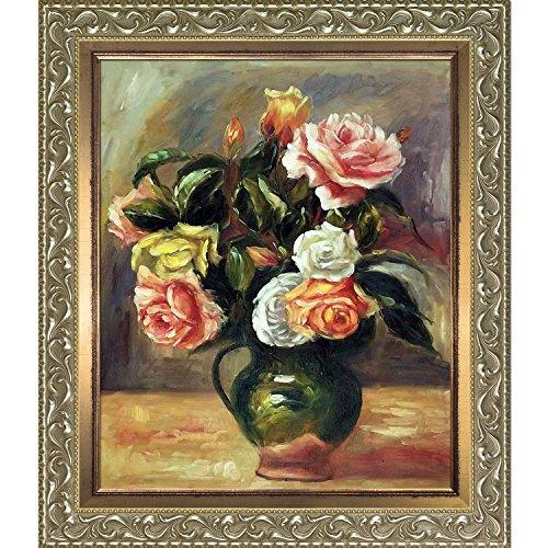 overstockArt La Pastiche Bouquet of Roses by Renoir Hand Painted Oil with Rococo Silver and Burnished Gold Custom Stacked Frames