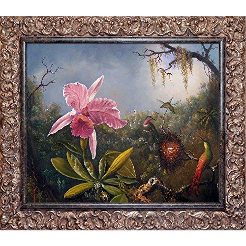 overstockArt La Pastiche Cattleya Orchid and Three Hummingbirds, 1871 by Martin Johnson Heade with Brasovia Frame