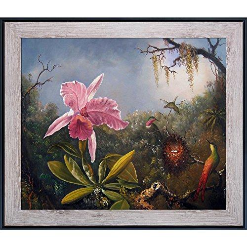 overstockArt La Pastiche Cattleya Orchid and Three Hummingbirds, 1871 by Martin Johnson Heade with Nantucket Whitewash and black Combo Frame