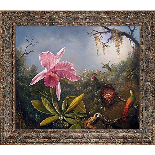overstockArt La Pastiche Cattleya Orchid and Three Hummingbirds, 1871 by Martin Johnson Heade with Parisian Tortoise Frame