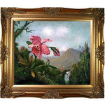 overstockArt La Pastiche Orchid and Hummingbird Near a Mountain Waterfall, 1902 by Heade with Victorian Gold Frame