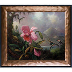 overstockArt La Pastiche Orchids and Hummingbirds 1890 by Heade with Copper and Black Combo Frame
