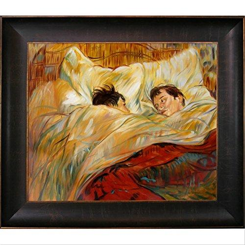 overstockArt The Bed Artwork by Toulouse with Bronze and Rich Brown Frame