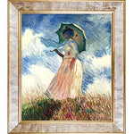 overstockArt Woman with a Parasol (Facing Left) by Monet with Gold Pearl Inlay Frame