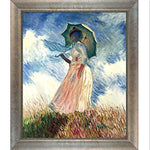 overstockArt Woman with a Parasol (Facing Left) by Monet with Silver Scoop, Swirl Detail with Champagne Highlights