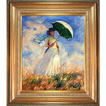 overstockArt Woman with a Parasol Facing Right by Monet Framed Artwork with Mediterranean Gold Frame
