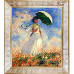 overstockArt Woman with Parasol Facing Right by Monet Framed Artwork with Gold Pearl Frame in Classic Gold with Pearl Inlay