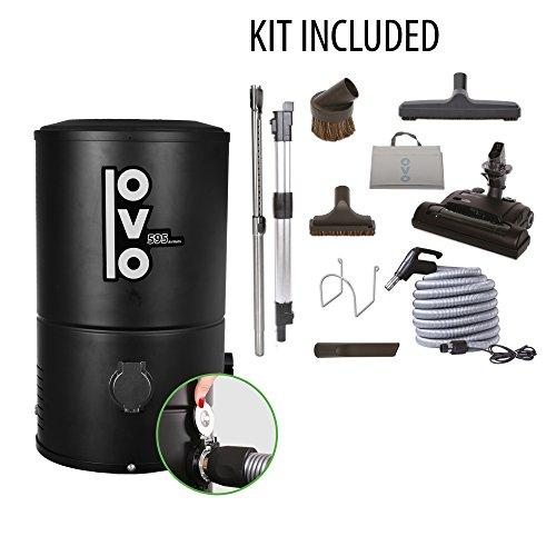 OVO No Piping Required Compact 595 Airwatts Central Vacuum System Power Unit with 40ft Carpet Deluxe Accessory Kit Included, Vac, Black