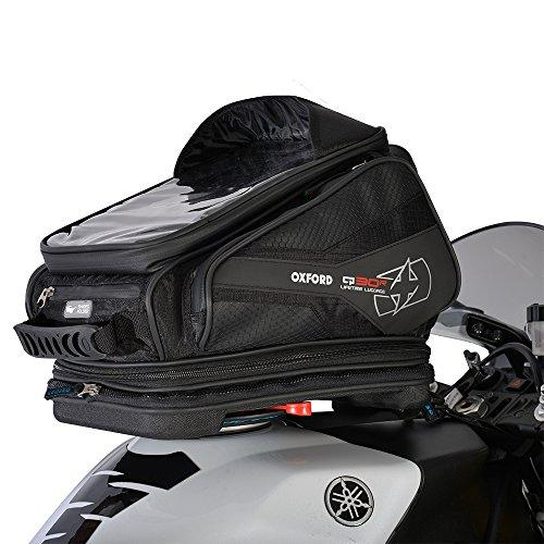Oxford Backpack Motorbike Motorcycle Q30R QR Bike Riding Luggage Quick Release Tank Bag 30L Capacity Sat Nav Map Holder (Black)