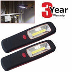 Pack of 2 Ultra-bright 5W COB LED Magnetic Worklight Inspection Lamp Torches 350 LUMEN - Equivalent to 175 standard LEDs + FREE BATTERIES + 3 YEAR WARRANTY