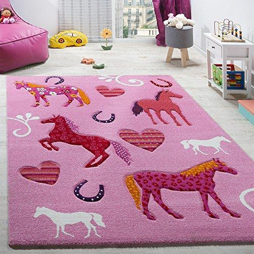 Paco Home Children's Room Rug Child's Rug Horses Hoof Heart Designs Contour-cut Pink, Size:80x150 cm