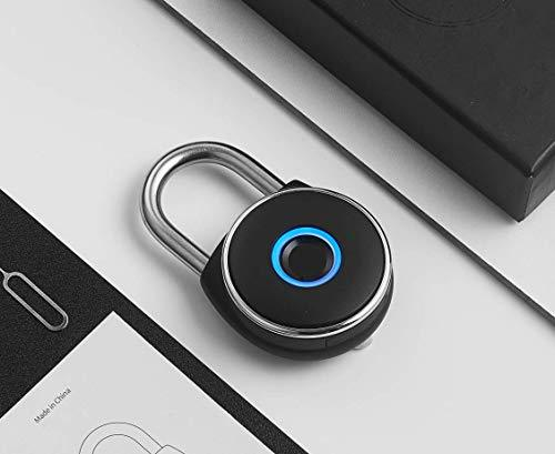 Padlock NetBolt Smart Padlock, Fingerprint, Metal Waterproof, Suitable for House Door, Suitcase, Backpack, Gym, Bike, Office, Support USB Charging (Satin Black)