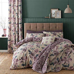 Painted-Style Floral Flowers Beige Reversible Cotton Blend Double (Plain Mauve Purple Fitted Sheet - 137 X 191CM + 25) Plain Mauve Purple Housewife Pillowcases 6 Piece Bedding Set