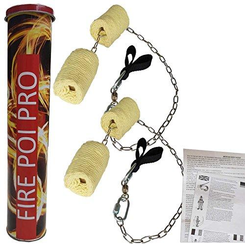 Pair of Double Pro + Extinguisher, Fire Poi Chains with 4x5cmx75cm Kevlar fire wick, Double finger loops, Swivel Bearings & Delta links