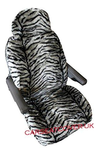 Pair of FUR FURRY Luxury MOTORHOME Seat Covers [CHOICE OF 10 FABRICS][GREY TIGER]