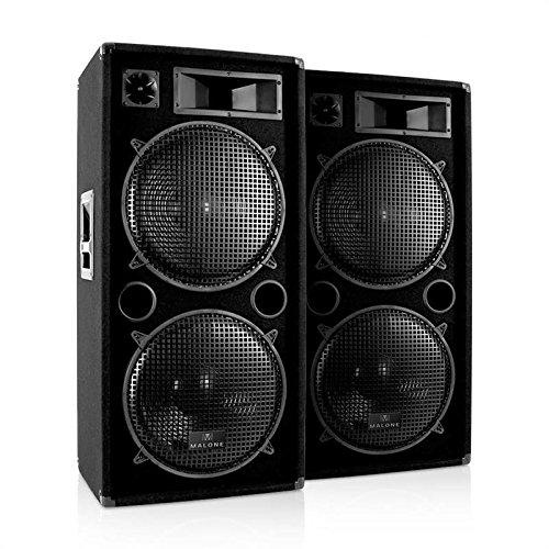 "Pair of Malone PW-2522 PA speakers 2x 38cm (15"") subwoofer 3000W"