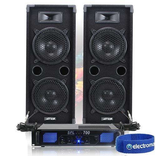 Pair of Max Twin 8 Inch PA Speakers wih Amplifier & Cables 1600W
