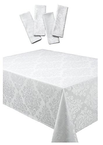 Palazzo Damask Snow (White) Christmas Rectangular Tablecloth Ideal For 8-10 Place Settings And 8 Napkin Package (Tablecloth 70x108in-Napkins 20x20in)