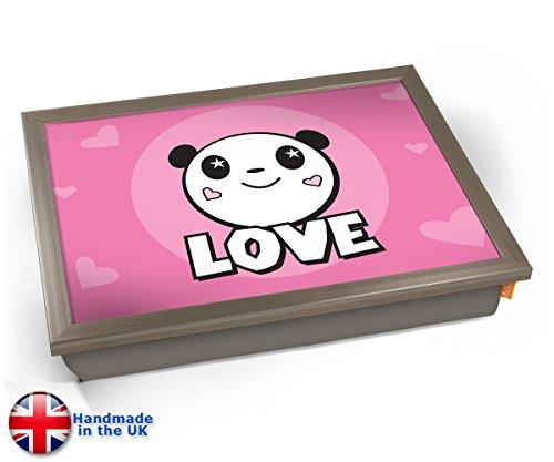 Panda Bear Love Cute Kids Cushioned Bean Bag Breakfast Bed Lap Tray Desk - Chrome Effect Frame
