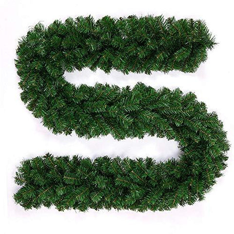 PandaHug 10pack 2.7m Christmas Garlands Plain Green Pine Wreath Stair Fireplace Tree Decorations (9ft)