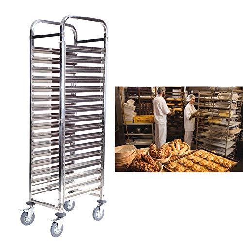 Paneltech 16 Tiers Kitchen Rolling Cart Shelf Trolley Utility Trolley with Casters and Adjustable Feet Restaurant Bakery Food Tray Gastronorm Racking Cart Gastro Trolley