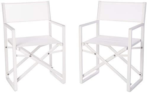 Pangea Home Sunset Directors Chairs, Set of 2, Aluminum White, 1 Inches