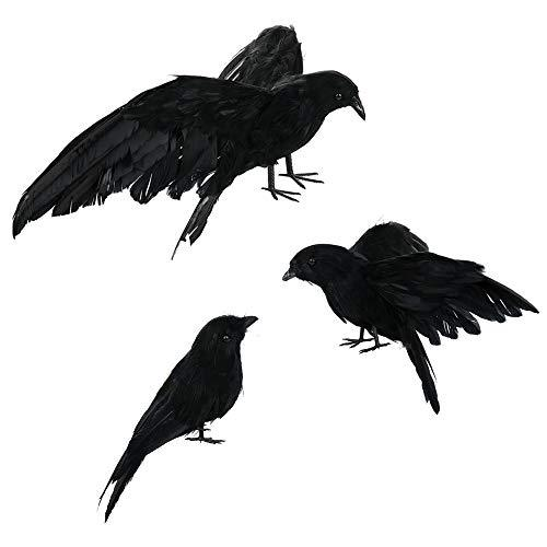 pannow halloween realistic handmade crow prop 2 sets 6 pcs black feathered crow fly and stand
