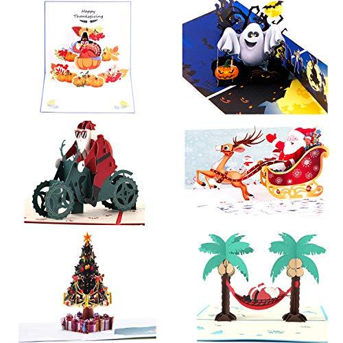 Christmas Halloween Thanksgiving.Paper Spiritz Pack Of 6 Pop Up Christmas Card 3d Card Holiday Card Halloween Thanksgiving Christmas Card 6 Pcs Envelopes Included