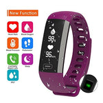 Parnerme Waterproof Fitness Tracker Wrist Based Heart Rate Monitor Activity Tracker,Blood Pressure Blood Oxygen Tracking,Pedometer Calorie Sleep Monitor Call/SMS (Purple)