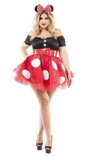 Party King Women's Coquette Mouse Plus Size Costume, red/Black, 5X-Large