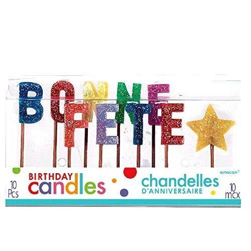 "Party Time Molded Letter Bonne Fete Toothpick Candles, Pack of 10, Multi , 5"" Wax, Toothpick"