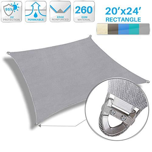 Patio Large Sun Shade Sail 20' x 24' Rectangle Heavy Duty Strengthen Durable Outdoor Canopy UV Block Fabric A-Ring Design Metal Spring Reinforcement 7 Year Warranty -Light Gray