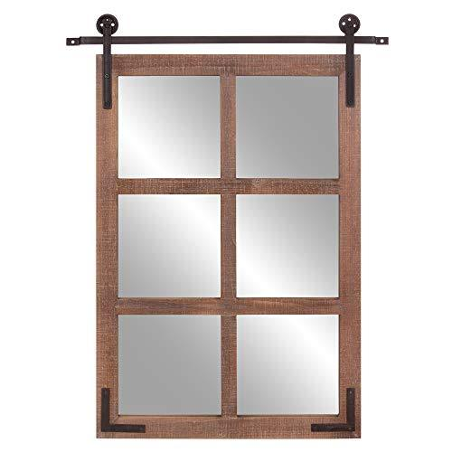 Patton Wall Decor 30x36 Sliding Barn Door Wood Window Wall Mounted Mirrors Brown