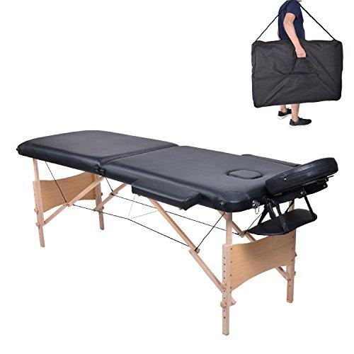 Pawstory Folding 2 Section Wooden Massage Table Portable Height Adjustable Professional Lightweight Massage Bed Beauty Treatment Couch Free Armrest Headrest Carrying Bag(Black)