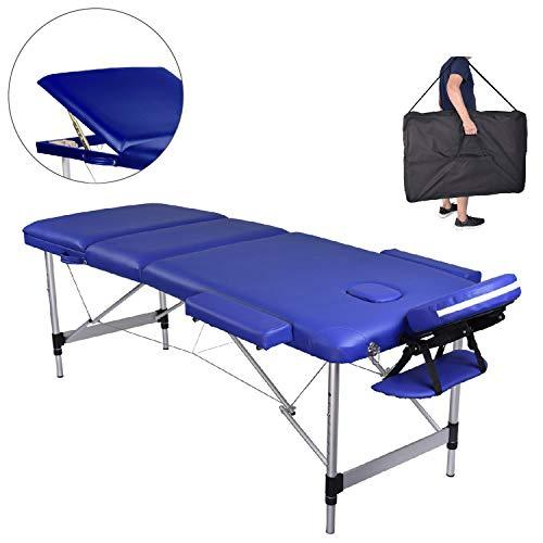 Pawstory Folding 3 Section Aluminium Massage Table Portable Height Adjustable Professional Lightweight Massage Bed Beauty Treatment Couch Free Armrest Headrest Carrying Bag(Blue)