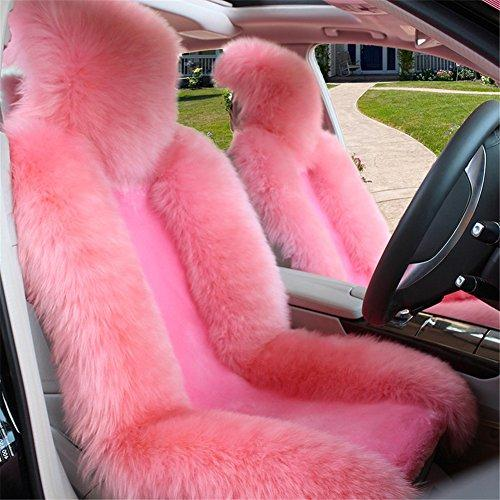 Peiji 3Pcs Luxury Interior Thick Wool Car Seat Cover Set, Sheepskin Rug Fleece, Universal Cushion Automobile Decoration (Pink)