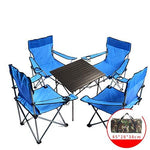 PeiQiH Folding Camping chairs, Outdoor Portable With Carry bag Armrest Cup holder Lightweight Leisure Chairs Fishing Travel Picnics Beach chair-Light blue Four chairs and one table